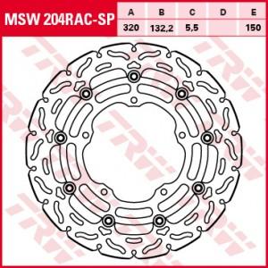 Racing brake disc without ABE MSW204RACSP