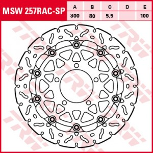 Racing brake disc without ABE MSW257RACSP