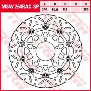 Racing brake disc without ABE MSW264RACSP