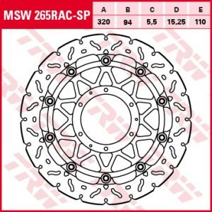 Racing brake disc without ABE MSW265RACSP