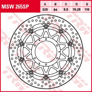 Racing brake disc without ABE MSW265SP