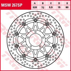 Racing brake disc without ABE MSW267SP