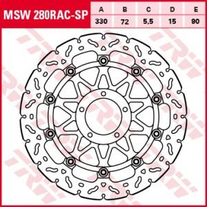 Racing brake disc without ABE MSW280RACSP