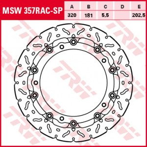 Racing brake disc without ABE MSW357RACSP